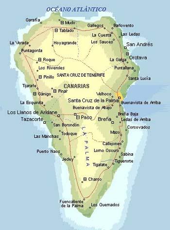 Kanaren Inseln Karte.Landkarte La Palma Inselinformationen