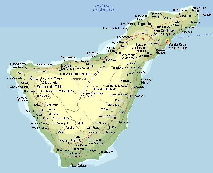 Landkarte Teneriffa Inselkarte Teneriffa